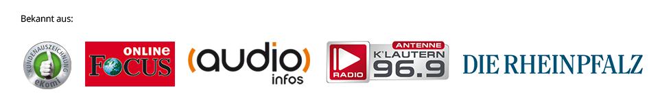 Bild mit dem ekomi-Siegel, Fokus online Logo, Audioinfos Logo, Rheinpflaz Logo und dem Antenne Kaiserslautern Logo um zu beschreiben woher PROAURIS bekannt ist.